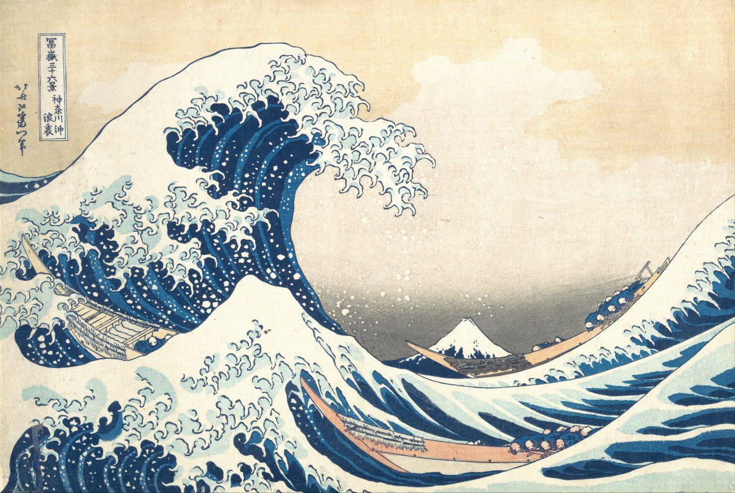 The Great Wave off Kanagawa by Katsushika Hokusai. Color woodblock c.1829–1833.