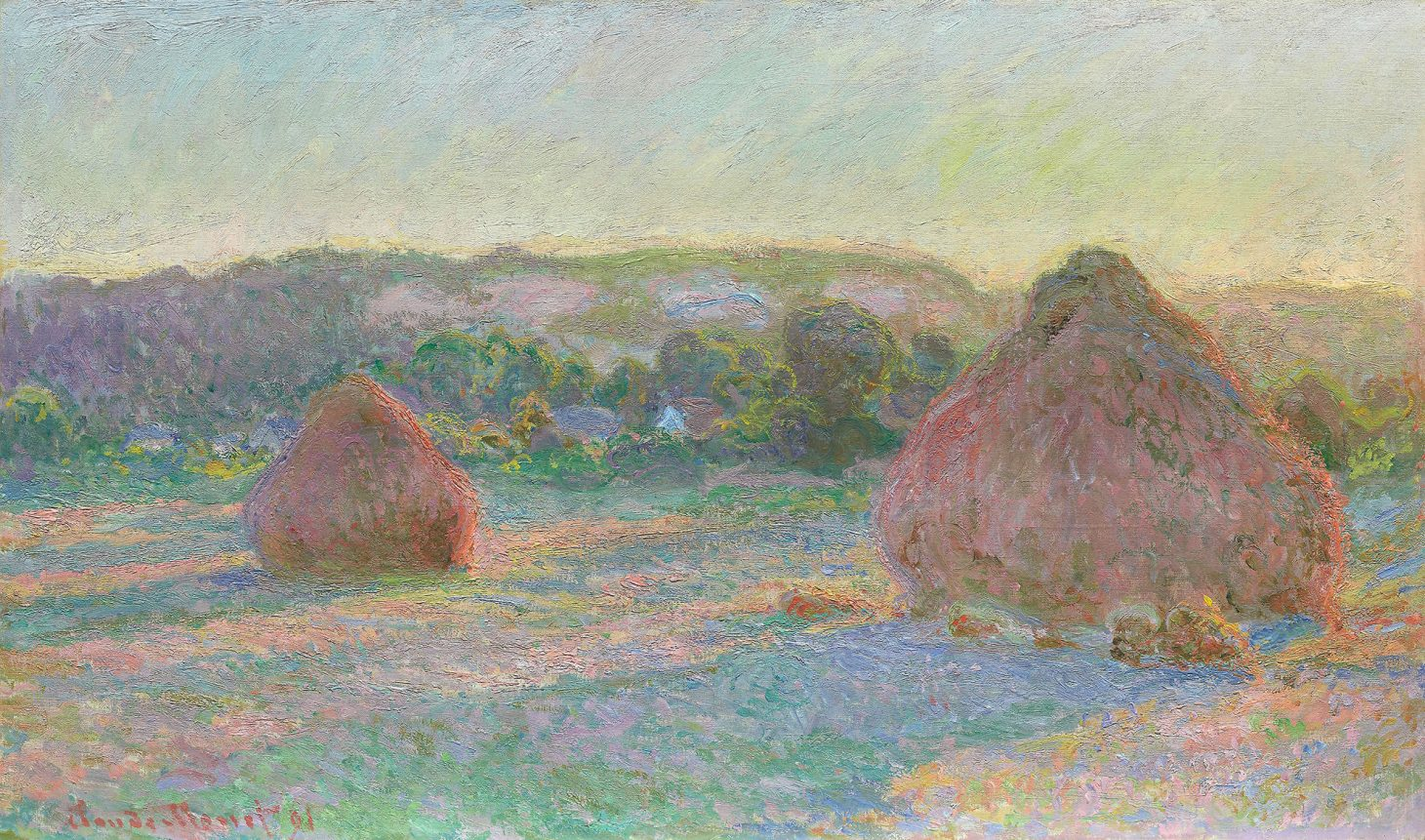 Stacks of Wheat, End of Summer (1890–1891) by Claude Monet. Original from the Art Institute of Chicago. Digitally enhanced by rawpixel.