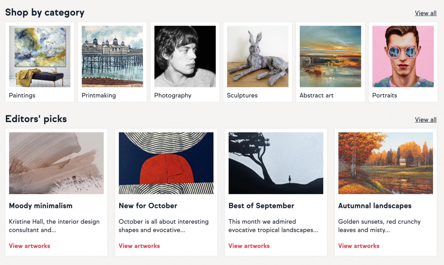 Artfinder shopping categories screenshot