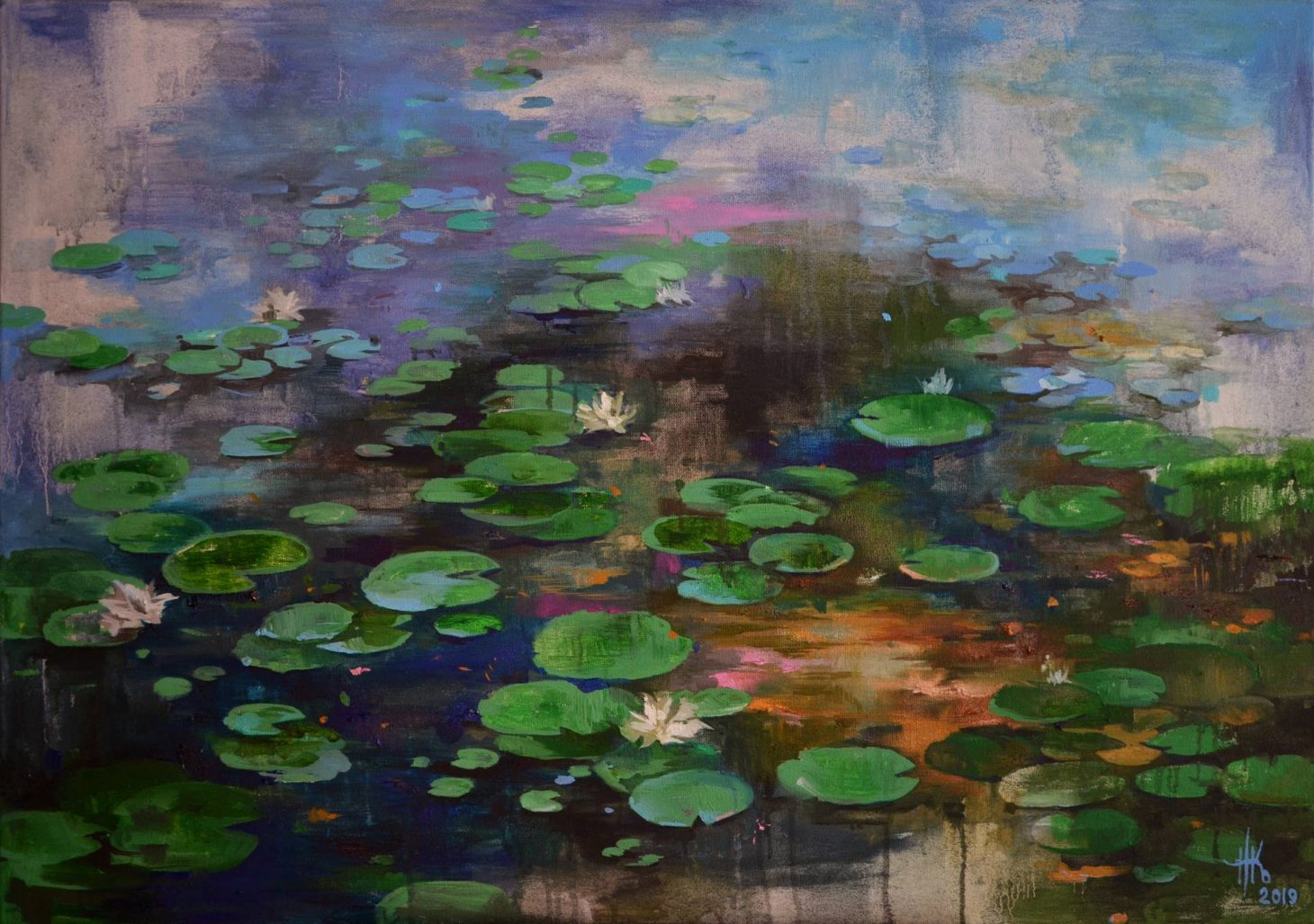 Lily pond. Wavy mirror by Zhanna Kondratenko